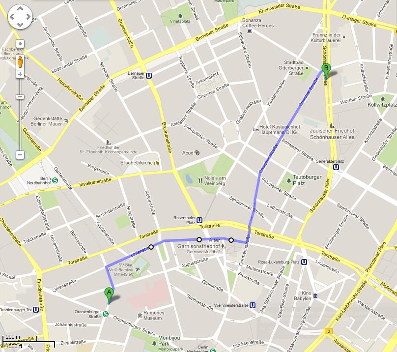 Google Maps durch die Fahrradstraße